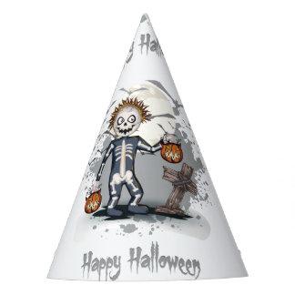 Halloween cartoon zombie in cemetery. party hat