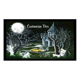Halloween, casa encantada, tarjeta de visita