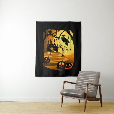 Halloween Themed Halloween Castle Medium Wall Tapestry