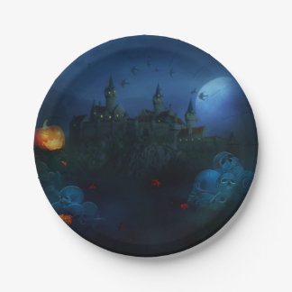 Halloween Castle skull grave yard paper plate