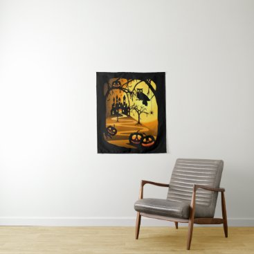 Halloween Themed Halloween Castle Small Wall Tapestry