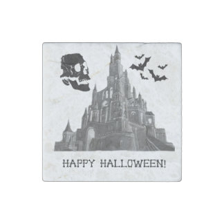 Halloween Castle with Skull and Bat Stone Magnet