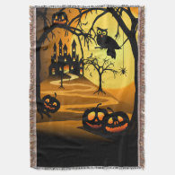 Halloween Castle Woven Throw Blanket