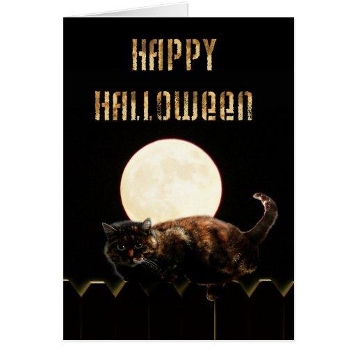 Halloween Cat & a Full Moon Greeting Card