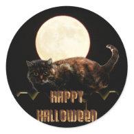 Halloween Cat & a Full Moon Round Sticker