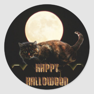 Halloween Cat & a Full Moon Classic Round Sticker