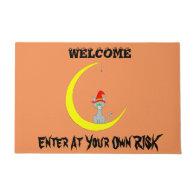 Halloween Cat and Moon Doormat