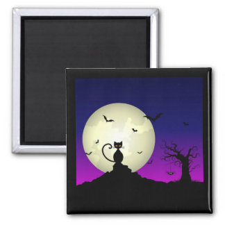 Halloween Cat and Moon Magnet