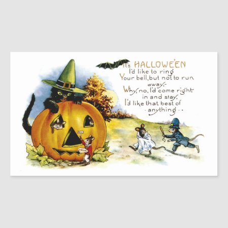 Halloween Cat and Mouse Rectangular Sticker