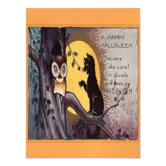 Halloween Cat And Owl Magnetic Card