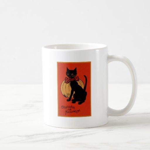 Halloween Cat and Pumpkin Coffee Mugs