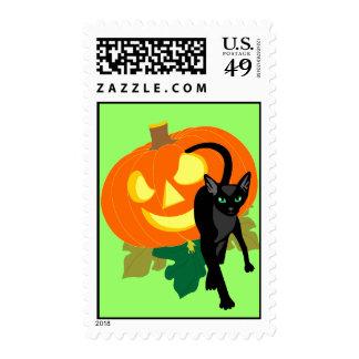 Halloween Cat and Pumpkin Postage