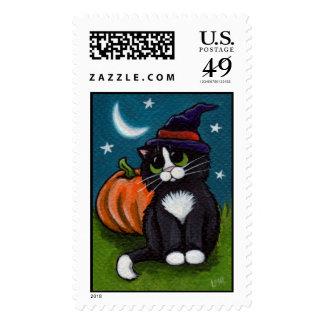 Halloween Cat and Pumpkin Postage Stamps