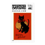 Halloween Cat and Pumpkin Postage Stamp