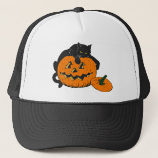 Halloween Cat and Pumpkin Trucker Hat
