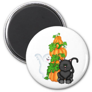 Halloween Cat and Pumpkins 2 Inch Round Magnet