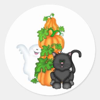 Halloween Cat and Pumpkins Classic Round Sticker