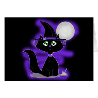 Halloween Cat and toy mouse Card