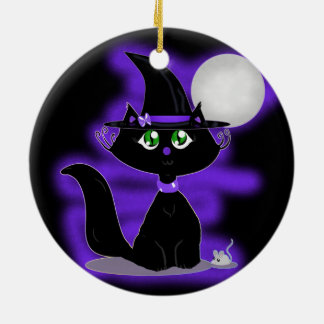 Halloween Cat and toy mouse Christmas Ornaments