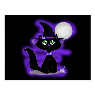 Halloween Cat and toy mouse Postcard