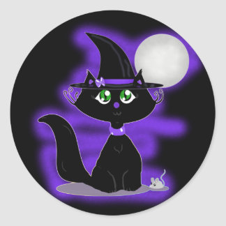 Halloween Cat and toy mouse Classic Round Sticker