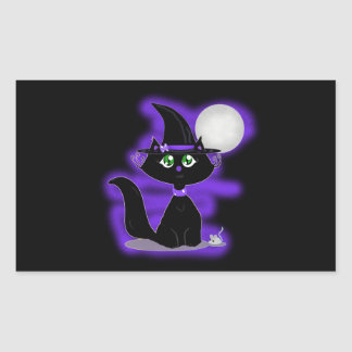 Halloween Cat and toy mouse Rectangular Sticker