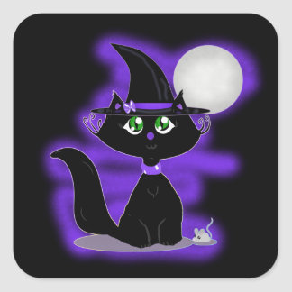Halloween Cat and toy mouse Square Sticker