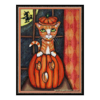 Halloween Cat Art Poster