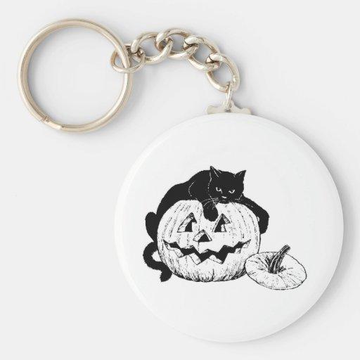 Halloween Cat Basic Round Button Keychain