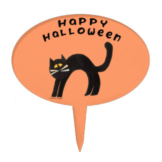 Halloween Cat Oval Cake Topper