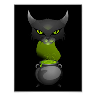 Halloween Cat Cauldron With Green Steam Poster