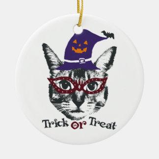 Halloween cat ceramic ornament