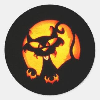 halloween cat classic round sticker