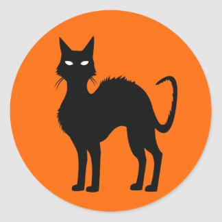Halloween Cat Classic Round Sticker