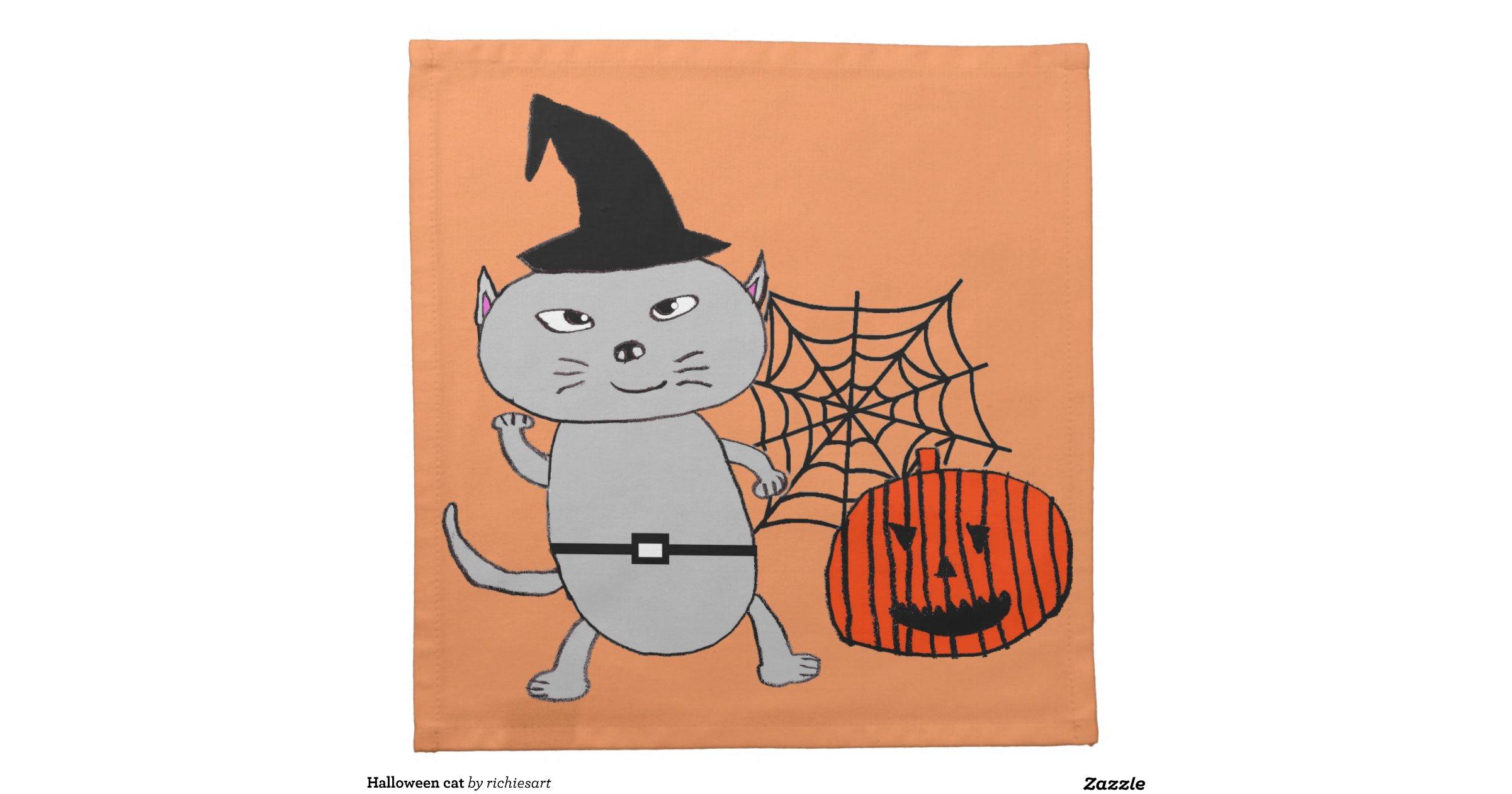 Halloween cat cloth napkins for Halloween cloth napkins
