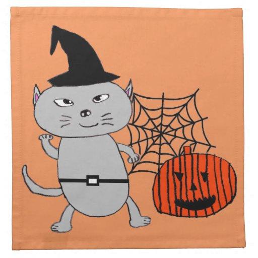 Halloween cat cloth napkins zazzle for Halloween cloth napkins