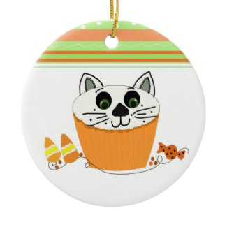Halloween Cat Cupcake ornament