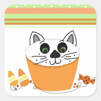 Halloween Cat Cupcake Square Sticker