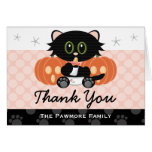 Halloween Cat Diapers Pink Baby Shower Thank You Card