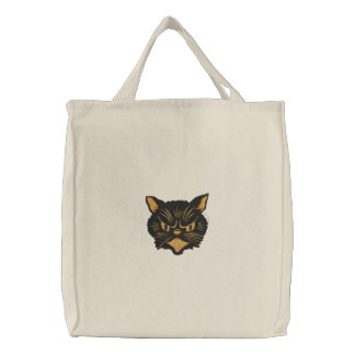 Halloween Cat Embroidered Tote Bag
