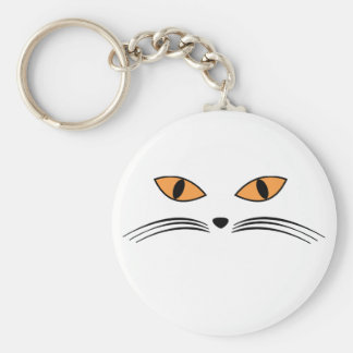 Halloween Cat Face Basic Round Button Keychain