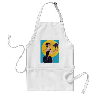 Halloween Cat Girl and Black Cat Adult Apron