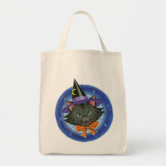 Halloween Cat: Grocery Trick Or Treat Tote Bag at Zazzle