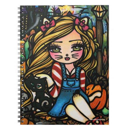 Halloween Cat Haunted House Girl Fantasy Art Spiral Notebooks