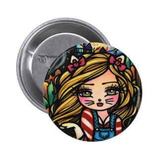 Halloween Cat Haunted House Girl Fantasy Art Pinback Button