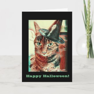 Halloween Cat in a Hat Card