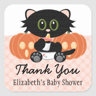 Halloween Cat in Diaper Pink Baby Shower Thank You Square Sticker
