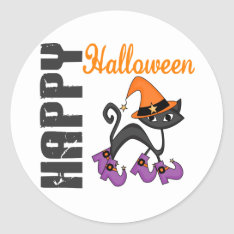 Halloween Cat In Witch's Boots Classic Round Sticker at Zazzle