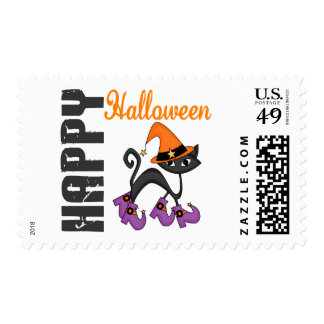 Halloween Cat In Witch's Boots Postage