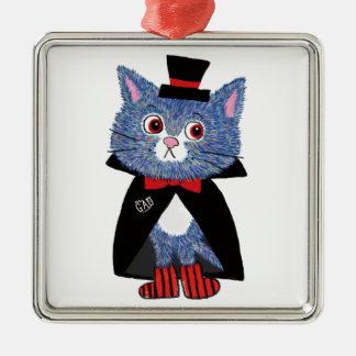 Halloween cat king metal ornament